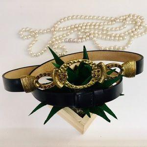 Chico's Black Leather Embellished Gold Buckle Belt